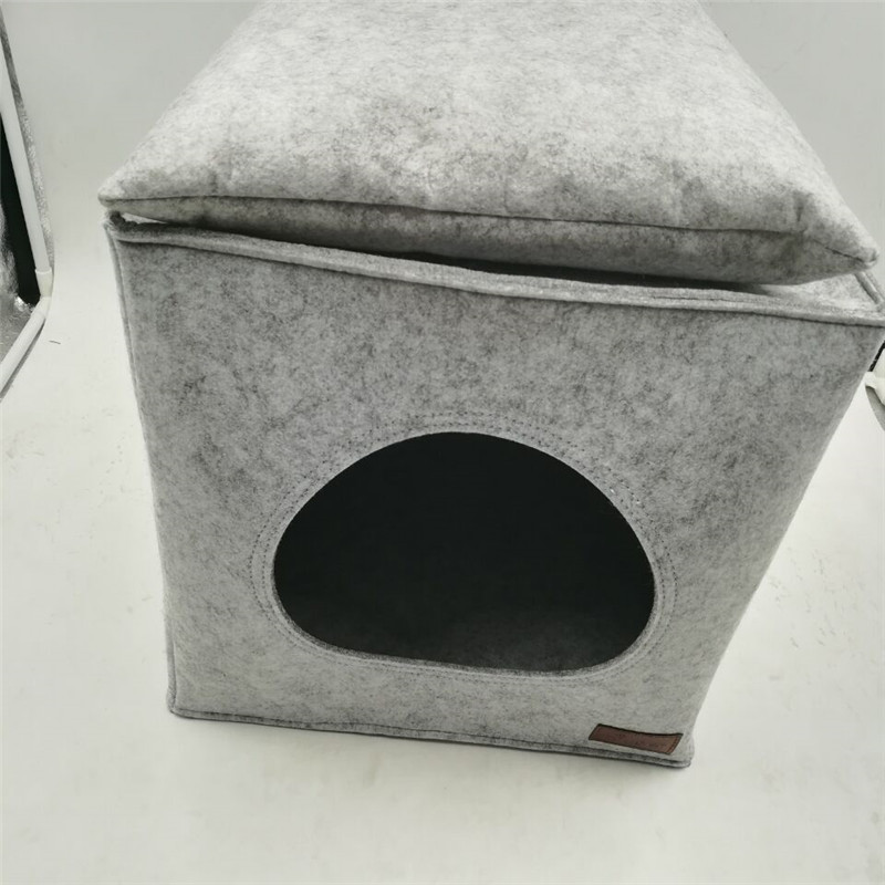 New design folding cave dog bed, square pet bed for dog cat