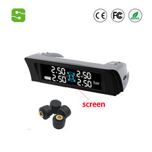 Internal& External Tire Pressure Monitor System Solar power wireless universal TPMS with LCD dispaly