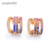 Fashion high quality 18k gold plated hot sale rainbow hoop earrings for women