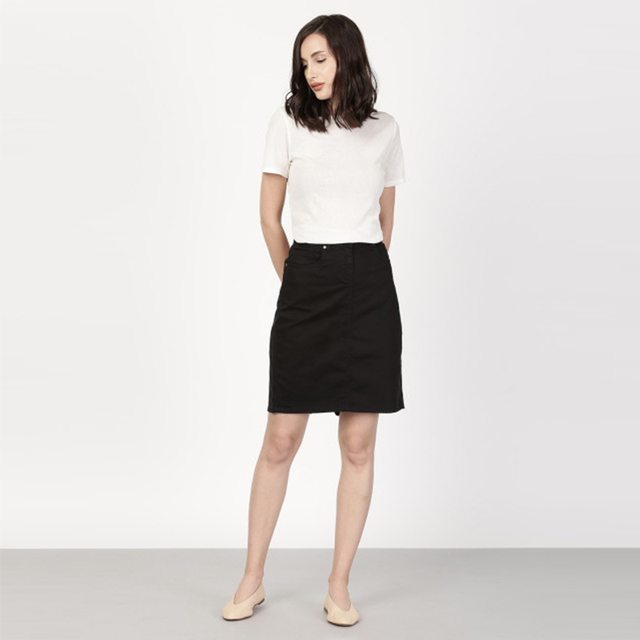 Cosy Black Denim Pencil Women Skirt With Pockets