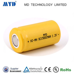 SC1500mah 1.2v rechargeable ni-mh battery with CE ROHS approved