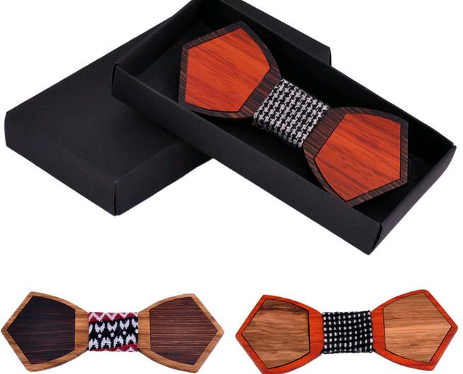 Novelty Solid Good Bamboo Wood Bow Tie For Men Classic Wood Bowties Neckwear Creative 3D Handmade Butterfly Wood Tie