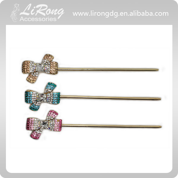 Pretty Bow Hair Bobby Pins with crystal