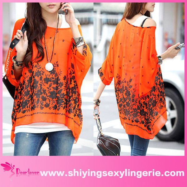 New Wholesale Casual Flower Print Orange Bohemian Chiffon model blouse for uniform