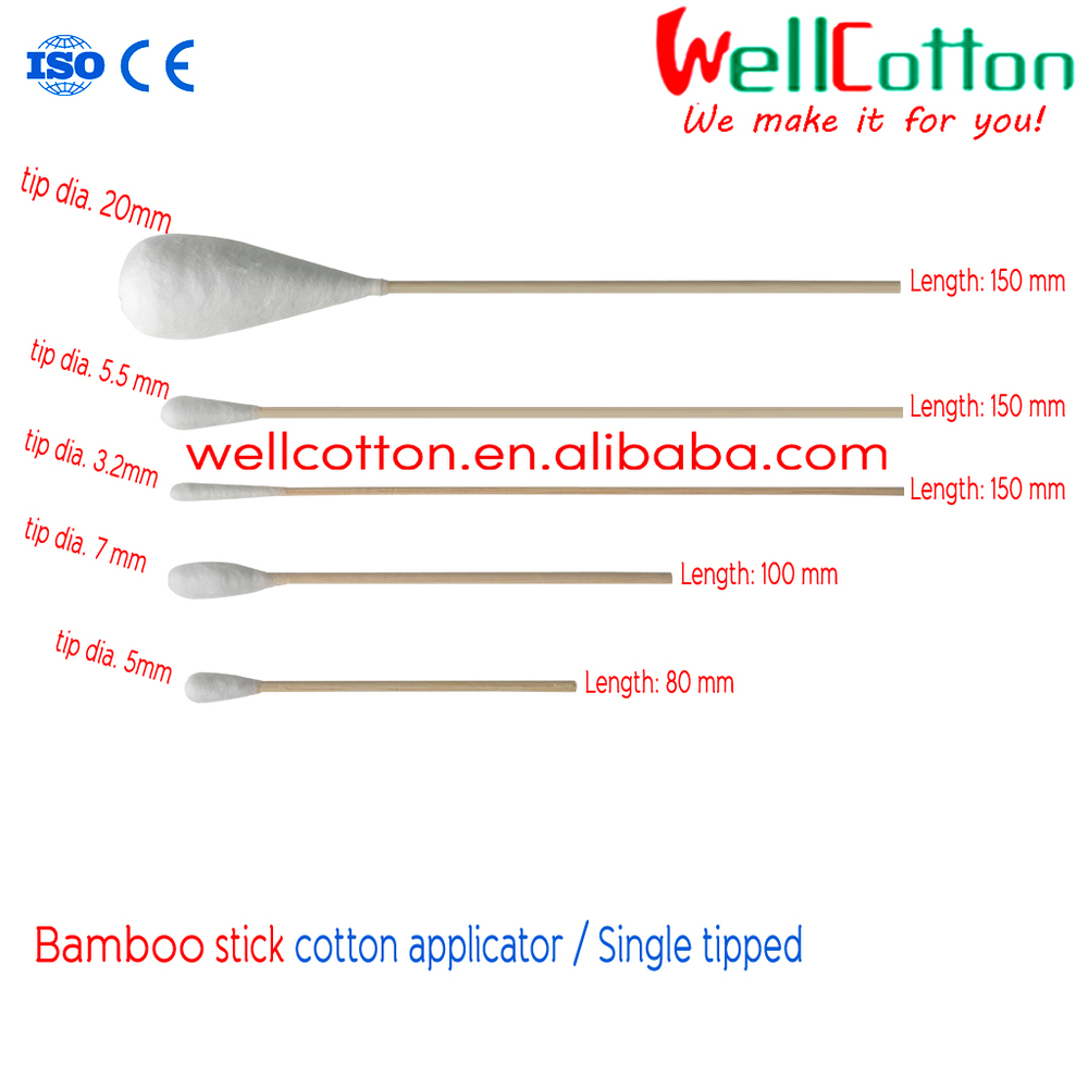 Bamboo Stick Cotton Swab Medical Bamboo Stick Cotton