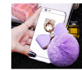 New Design Luxury Bowknot Metal Ring Rabbit Fur Ball Mirror TPU Phone Cases For iPhone 7 7 Plus 6S 6 Plus 5 5S Cover