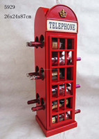 Restaurant decoration,Freestanding wooden public antique telephone booth Wine Rack for sale from china with european style