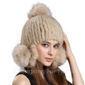 CX-C-165A Russian Style Fox Ball Custom Mink Fur Knitted Beanie Hat