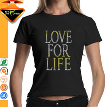 Love For Life Rhinestone Letters Design T-shirts for Girls