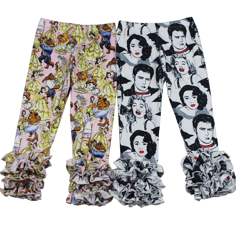 Hot Sale Baby Icing Ruffle Pants Leggings Wholesale Mickey Mouse Milk Silk Printed Kids Cheap Pants Adorable