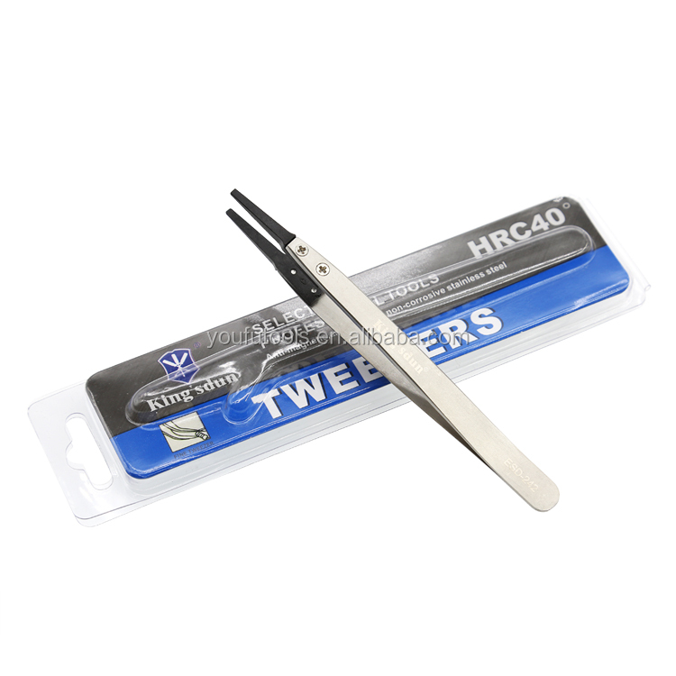 ESD-242 High Temperature Stainless Steel Tweezers With Carbon Fiber Changeable Tip