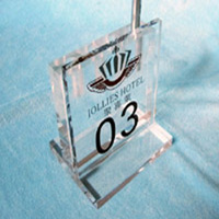 top grade transparent acrylic tabletop printed thick block sign hot selling