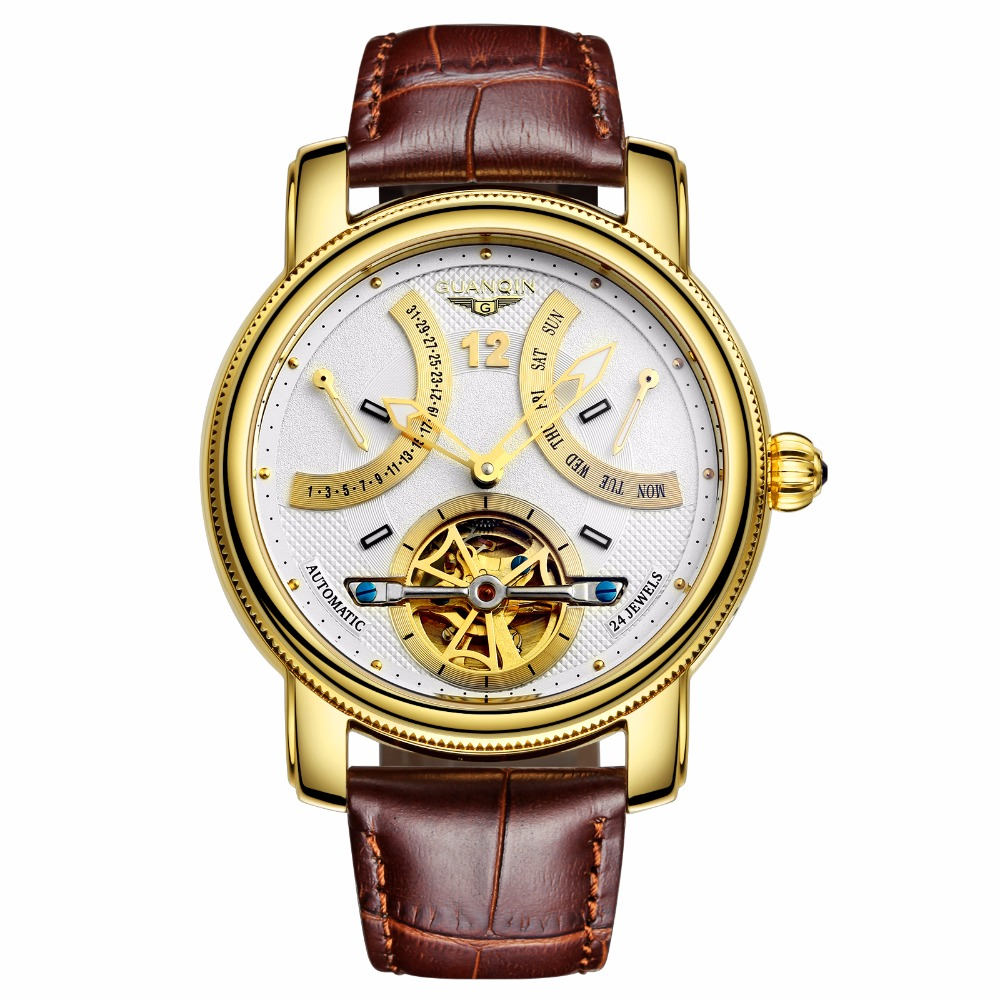 Luxury Brand GUANQIN Automatic Mechanical Watches Men Waterproof Luminous Tourbillon Watch Calendar Leather Gold Wristwatch