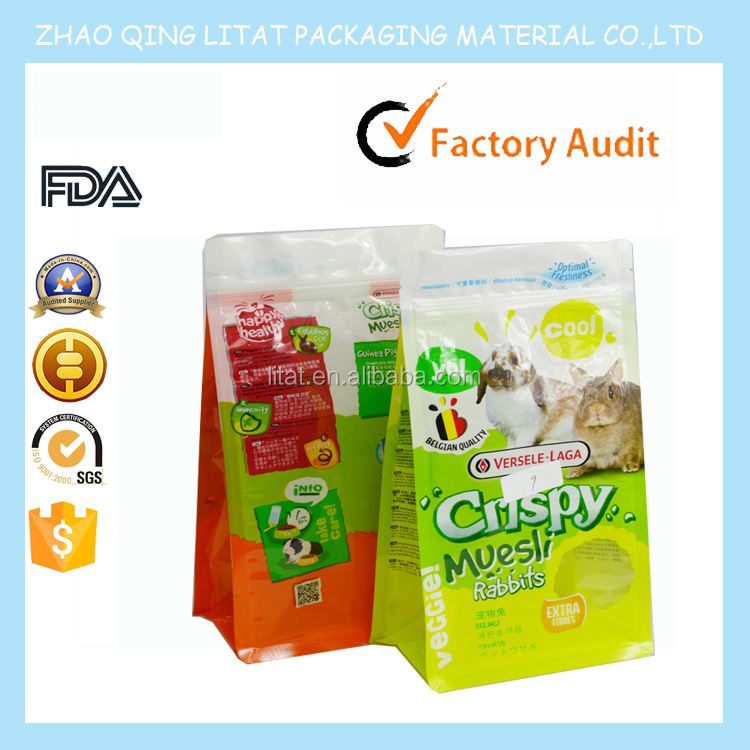 2016 food grade storage vacuum plastic packaging pet food bag