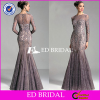 ED294 Factory Custom Made Long Sleeve Mermaid Dubai Evening Dress With Lace Applique