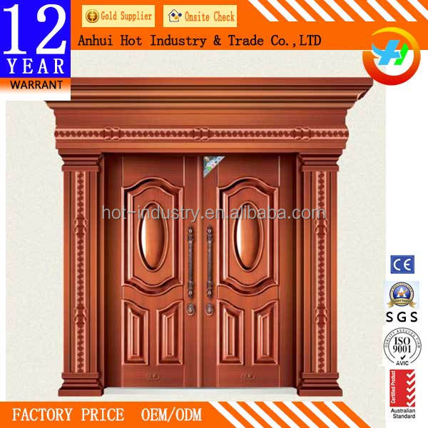 Exquisite Pattern Caving Imitated Copper Door High Quality Security Iron Door
