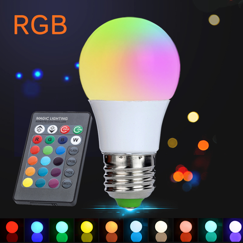 AC85-265V Colors Changing E27 3W 300LM LED Light Bulb Dimmable RGB Light with IR Remote Spotlight Led Bulbs Light for Party