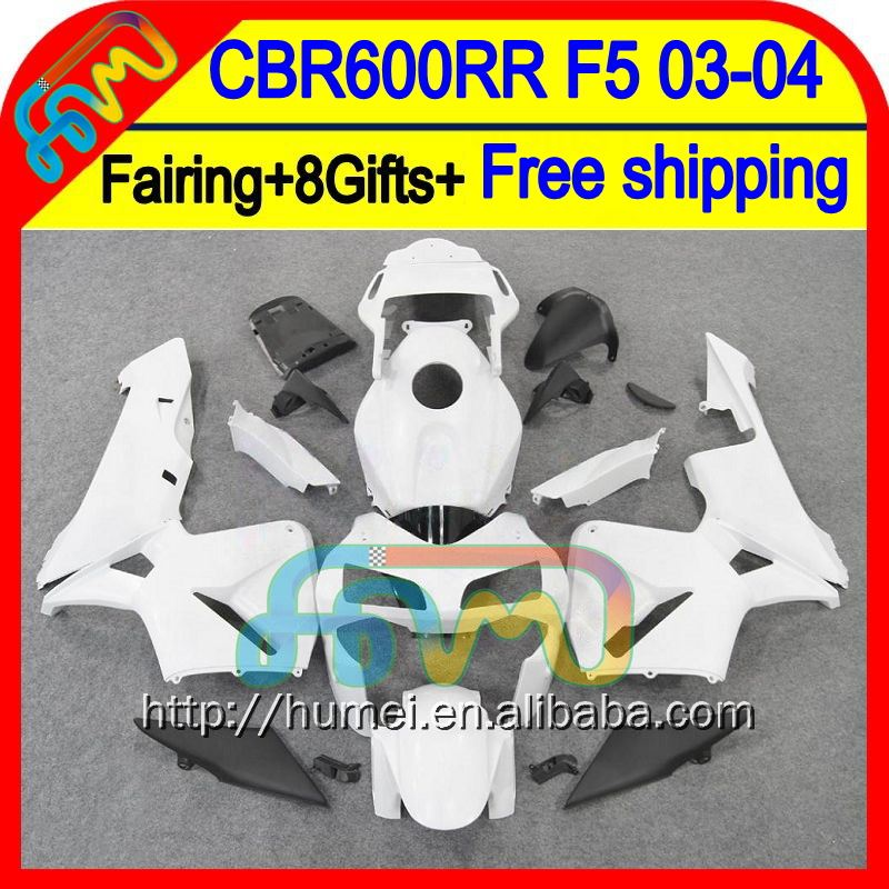 ALL White 8Gifts Injection For HONDA CBR 600RR 600 RR 03 04 50HM51 CBR600 RR F5 CBR600RR 2003 2004 03-04 Fairing Gloss white