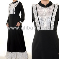 Muslim Abaya Islamic Fashion Clothing Long Sleeves Front Zip Mandarin Neck Dress
