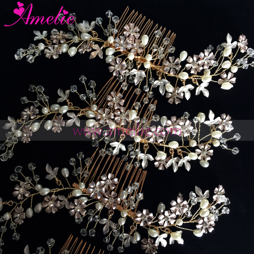 Gold Silver Handmade Wedding Enamel Flowers Wedding Decoration <strong>Hair</strong> Comb Bridal <strong>Hair</strong> <strong>Accessories</strong>