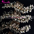 Gold Silver Handmade Wedding Enamel Flowers Wedding Decoration Hair Comb Bridal Hair Accessories
