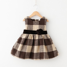 MS70417B Korean style kids classic plaid dress girls party dresses woolen dress for winter