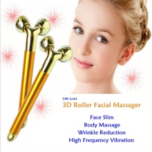 3D Roller Face Massager 24K Golden Pulse Face Massager Beauty Bar High Frequency Vibration Microcurrent Skincare