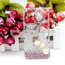 3D Luxury Handmade for iphone 5 5G Pearl Crystal Bling Butterfly Clear Case