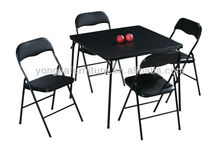 5 Pieces Black Metal Folding Card Table And Chairs Set