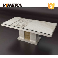 luxury furniture modern glass top marble base dining table for 8 seaters