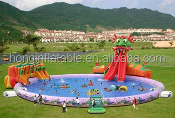 QH-WP-29 giant inflatable water park , funny inflatable water toys with big pool