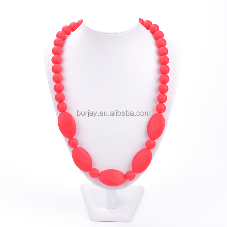 Baby Teething Silicone Red Bead Necklace Approved By FDA