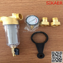 Customized made Home use Large Flowrate simple remove rust copper prefilter with water pressure gauge