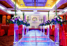 acrylic clear wedding stage with crystal pillars and dancing floor