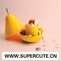 Best Selling product ABS Yellow color pear shape design cosmetic container