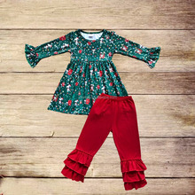 2017 Christmas baby girls boutique Christmas coloured lights outfits toddler green tunic and pants set children girl clothes