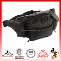New Large Leather Fanny Pack Waist Hip Lumbar Bag with Dual Cell Phone Pocket