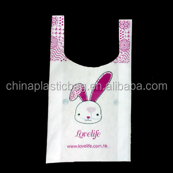 2015 new product nonwoven shopping bag/non woven t shirt bag with vest handle and cute prints popular in china