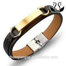 Men's leather bracelet Spanish bible the Lord's prayer titanium steel plating PU leather bracelet