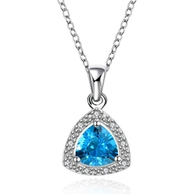 Special design triangle style uneven crystal zircon pendant necklace