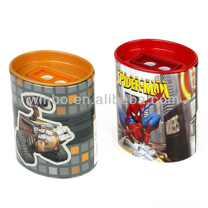 Two holes kids tin cartoon pencil sharpener