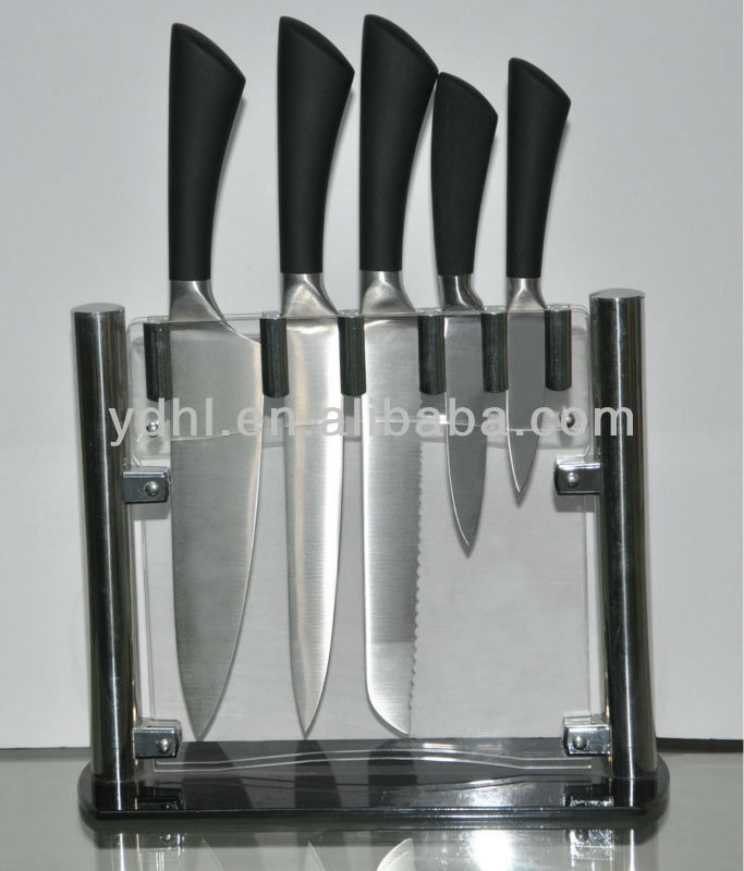 5PCS hollow handle kitchen knife set with acrylic block