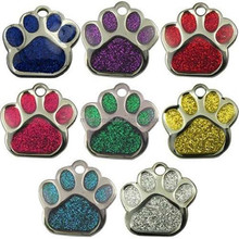 Pet ID Tag Tags, Quality 27mm Reflective Glitter Dog Paw Design
