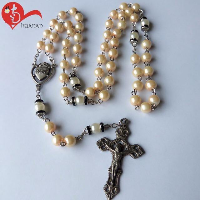 imitation pearl chain beaded Catholic rosary necklace