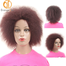 wholesale burgundy synthetic wig fiber afro curly short bob wigs