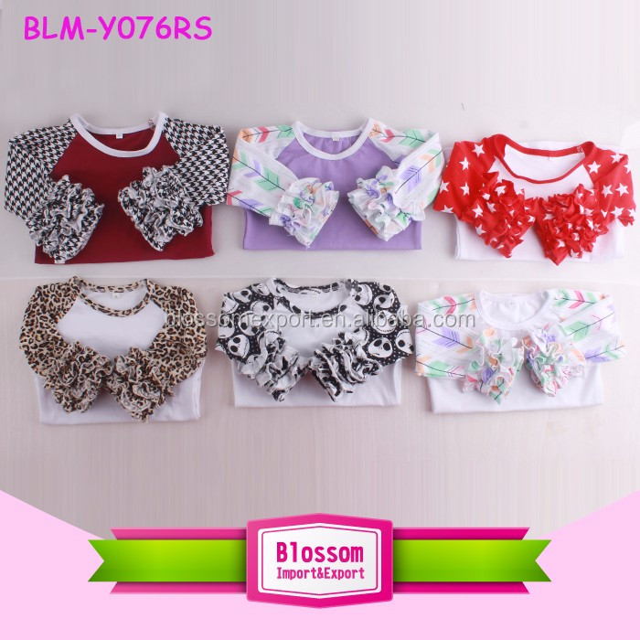 Boutique Custom Printed Pattern Infant & Toddler Kids Ruffle Raglan 3/4 Sleeve Baseball Shirt Girls Raglan Icing Tshirts