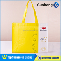 Yellow and white color nonwoven tote bag for shopping