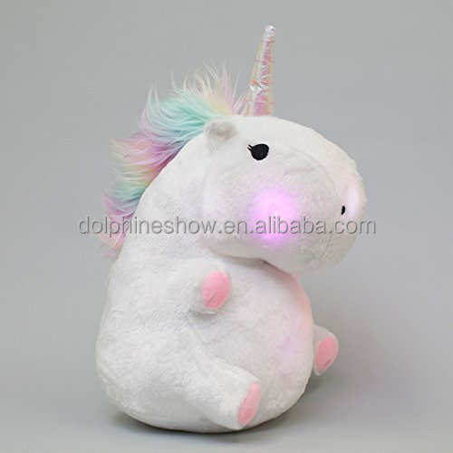 Promotional gift custom cute Led night light stuffed animal soft white unicorn plush toy
