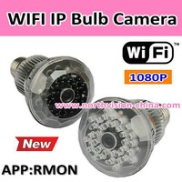 1080p full HD wifi ip cctv bulb camera dvr with app watch on mobile phone