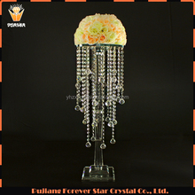 hot sale hanging crystals clear crystal centerpieces table decoration flower stand arabic wedding favors